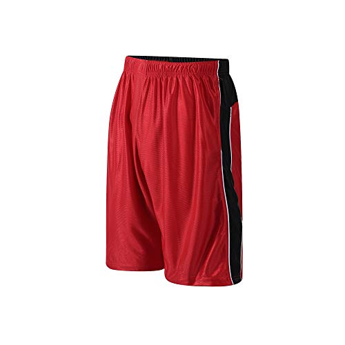 PTSports Men's Basketball Gym Shorts Running Workout Shorts with Pockets & Drawstring Red-L