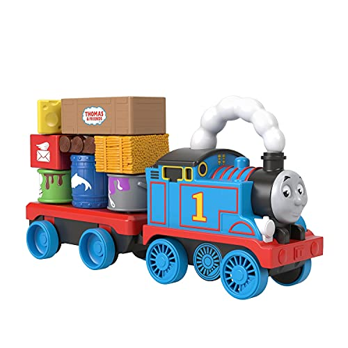 Thomas & Friends Wobble Cargo Stacker Train, Push-Along Engine with Stacking Blocks for Toddlers and Kids Ages 2 Years and up
