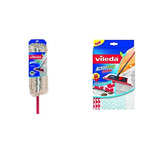 Vileda WischMat Combi - mit Teleskopstiel - insbesondere für Fliesen und Steinböden geeignet & WischMat Extra, Wischbezug mit 3D Flockstruktur, 1 Stück