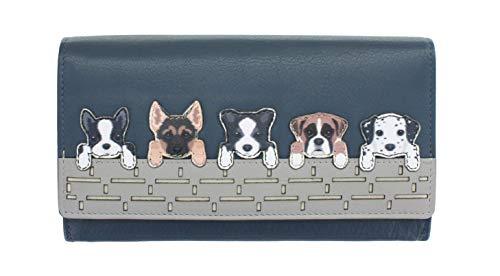 Mala Leather Portamonete con Cani sul Muretto Collezione BEST FRIENDS 3416_65 Blu marino