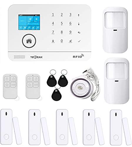 TecPeak Kit d'alarme pour maison sans fil, Wi-Fi/GSM avec sirène de sécurité fournit un moyen très efficace pour protéger votre maison et votre bureau (A4)