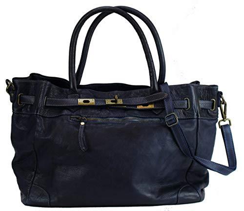 BZNA Bag Mila Blau navy vintage Italy Designer Business Damen Handtasche Ledertasche Schultertasche Tasche Leder Shopper Neu