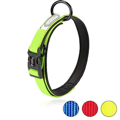 Happy Hachi Hundehalsband Verstellbare Nylonband Kragen gepolstert atmungsaktive Anti-Choke Anti-Reiben Mesh mit Ring Reflektierend Halsband