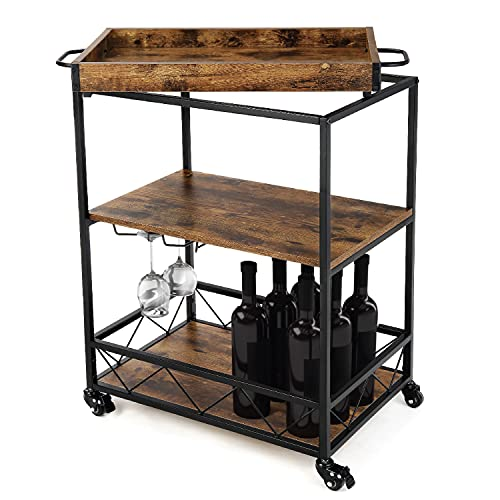 Landia Home Bar Cart for the Home – Includes Serving Tray, Wine Glass Holders, Rolling Wheels, and Shelf for Bar Accessories Storage