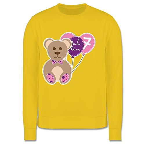 Shirtracer Geburtstag Kind - Ich Bin 7 Mädchen Bär Luftballons - 140 (9/11 Jahre) - Gelb - Bär - JH030K - Kinder Pullover