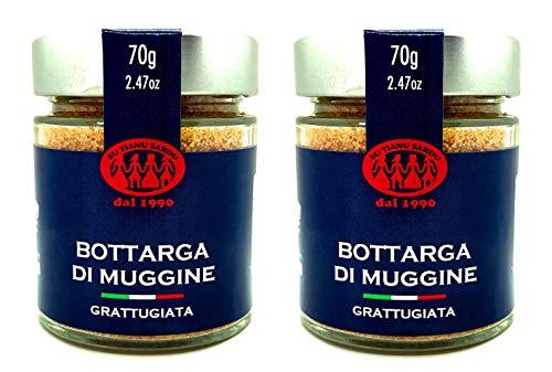 Geriebene Meeräsche Bottarga Su Tianu Sardu - 2 Packungen mit 70g - Handgefertigt in Sardinien, Italien - Kaviar des Mittelmeers - Sardische Handwerksproduktion als Kosher zertifiziert