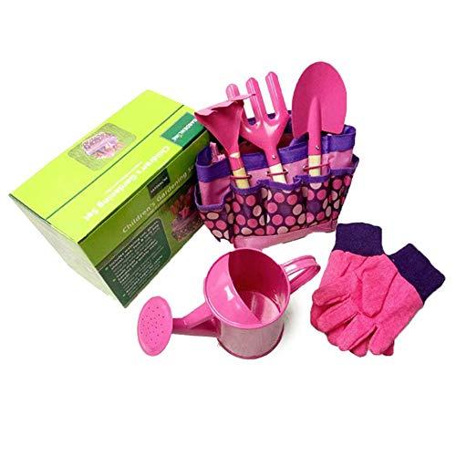 Quitd - Juego de herramientas de jardín para niños, 6 piezas, con bolsa, guantes de pala de metal, juego de herramientas de interacción para padres e hijos, rastrillo, tenedor y bolsa de jardín, rosa