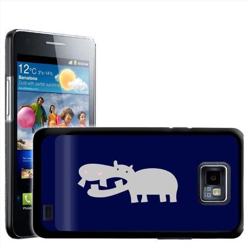 Fancy A Snuggle harde schaal ° / ° beschermhoes voor Samsung Galaxy S2 i9100, om op te steken, Ontwerp Afrikaans grijs Nilpaard met roze neusgaten