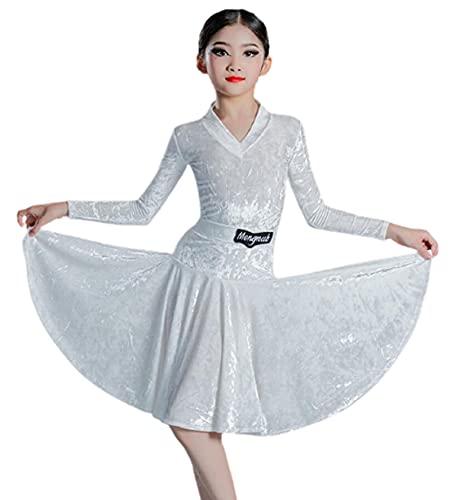ZYLL Vestidos de Baile Latino para niñas, Trajes de actuación de otoño e Invierno, Falda, Trajes de Baile, Rumba Salsa, Fiesta de Carnaval, Ropa de Baile,Blanco,S