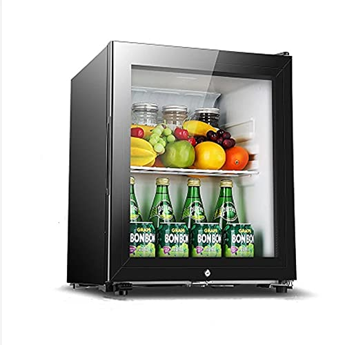 N / B Mini refrigerador de nevera, puerta de cristal, dispensador de bebidas pequeñas, para el hogar, la oficina o la barra, refrigerador de puerta reversible, color negro