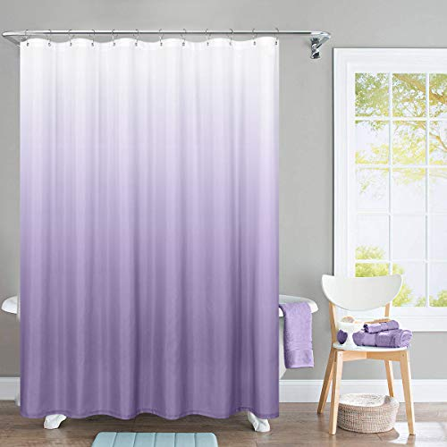 jinchan Ombre Shower Curtain Lilac for Bathroom Waterproof Gradual Color Design Fabric Shower Curtain Hooks Included with Rings 72 inch Long One Panel