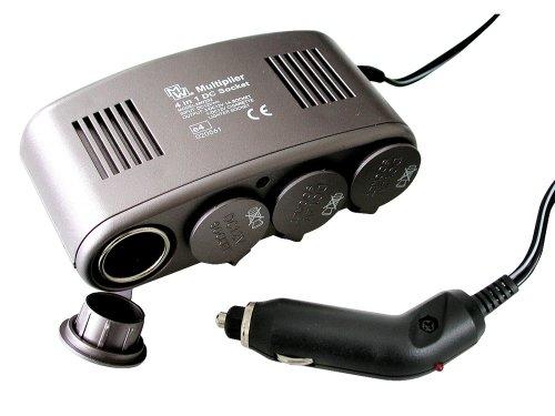Eufab 16567 Steckdose 4 in 1, 12 V, mit 10 A Sicherung, Kontroll - LED als Batteriestromanzeige, 1 m Kabel für Zigarettenanzünder