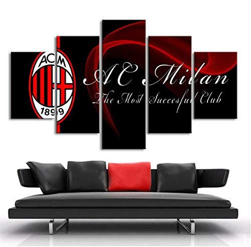 ZKPWLHS Stampe e Quadri su Tela 5 Pezzi Poster Sportivi Calcio AC Milan Banner Dipinti su Tela Stampe Stampate Decorazione Domestica Incorniciata (Misura_B) con Cornice