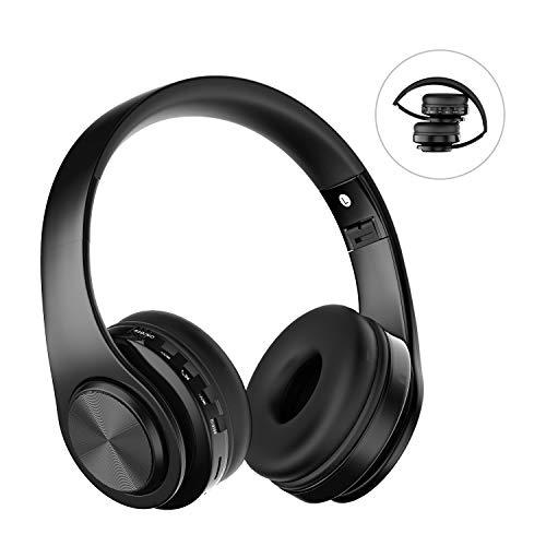 Auriculares Bluetooth con Micrófono, ZLX Auriculares Inalambricos Plegables con Estéreo Hi-Fi Compatible con Smartphones, Tabletas, Computadoras, TV,PC