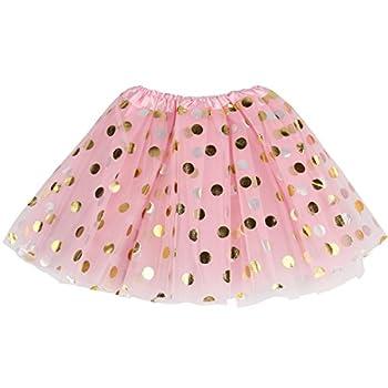 Jastore Baby Girls  Polka Dot Tutu Glitter Ballet Triple Layer Soft Tulle Dance Skirt  0-2 Years Pink