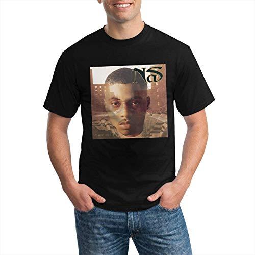 Fashion Men's T-Shirt NAS Rapper It was Written Round Neck Short Sleeve T-Shirt,Black,Medium
