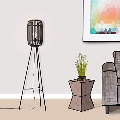 Dekorative Nature Standleuchte, dreibeinig, 1x E27 max. 40 Watt, aus Metall/Rattan in schwarz