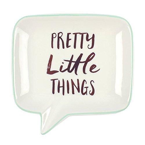 'Pretty Little Things' Bulle en céramique Blanc Bijoux Plat avec bordure Menthe et rose doré Font 12.5 x 12.5 x 2.2 cm