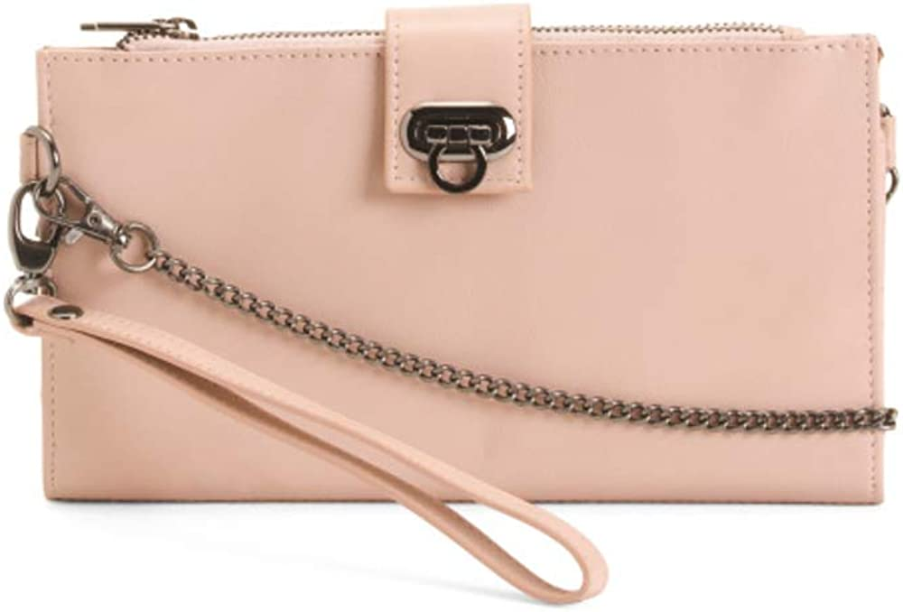 RACHEL ROY Genuine Leather Turn Lock Wallet Crossbody RFID protection wristlet