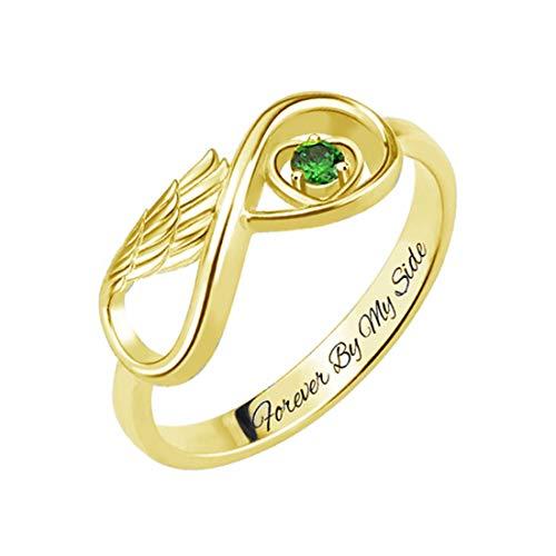 Coudf Wings of Love geschnitzter Namensring mit Birthstone Promise Ring für Frauen Weihnachten Jubiläum Ideen(Gold 20)
