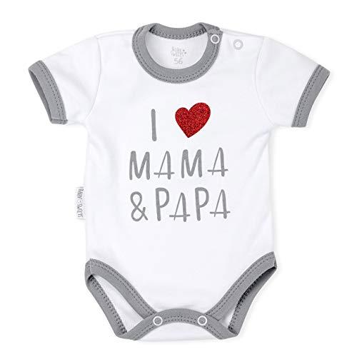 Baby Sweets Baby Kurzarmbody Unisex weiß | Motiv: I Love Mama & Papa | Babybody mit Glitzer Herz für Neugeborene & Kleinkinder | Größe: 0-3 Monate (62)
