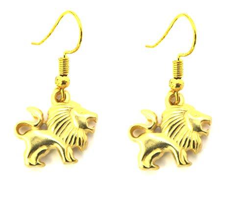 Löwen Ohrringe Damen Modeschmuck Ohrhänger goldfarben