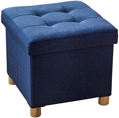 PanYFDD Reposapiés otomano de almacenamiento cofres plegables, patas de madera, asiento de lino para el hogar, 38 x 38 x 35 cm (color: azul, tamaño: 38 x 38 x 35 cm)