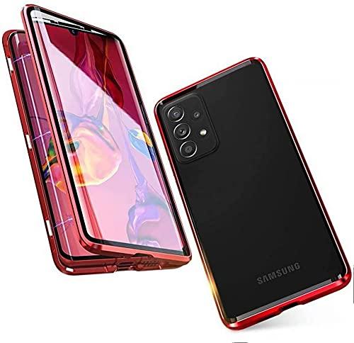 LIUKM Funda para Samsung Galaxy A52 5G Magnetica Adsorption Carcasa 360 Grados Protección Metal Choque Frente y Parte Posterior Vidrio Templado(Rojo)