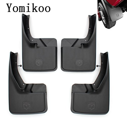 Yomikoo Mud flaps,Deluxe Molded Splash Guards Front and Rear Mud Fenders Ram mud flaps OEM For 2010-2018 Dodge Ram 1500 2500 3500 Full Set 4pcs With logo
