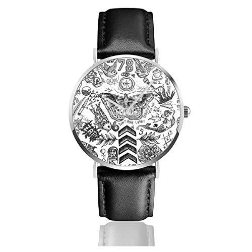 One Direction Tattoos Classic Casual Reloj de cuarzo de acero inoxidable con correa de cuero
