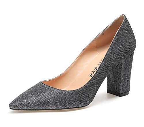 CASTAMERE Damen High Heels Spitzen Blockabsatz Pumps 8CM Bling Silbergrau Schuhe EU 44