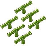 FirstDecor 6PCS Modern Creativity Green Bamboo Shape Cupboard Door knobs, Zinc Alloy Retro Furniture Handles Pull Knobs for Drawer Cabinet Wardrobe Kitchen Decoration Farmhouse Style