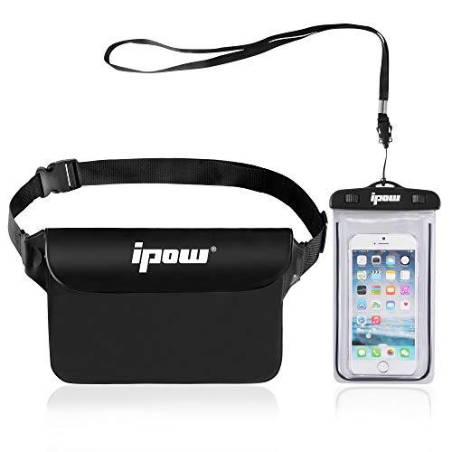 IPOW [2 PCS] Bolsa riñonera Impermeable iPhone, teléfono móvil, cámara, iPad, Dinero en Efectivo, Documentos, protección contra el Agua (Negro)