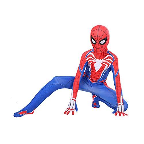 MODRYER Bambini Adulti Costumi Spiderman Ragazzi Superhero Cosplay Tuta Lycra Zentai PS4 Gioco di Ruolo Suits Body Superman Collant,Resin lens-Kids XL 140cm