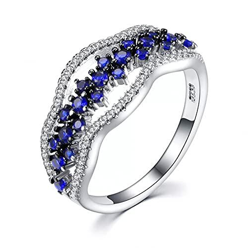 BAJIE Anillo de Bodas S925 Anillo de Diamantes de Zafiro Plateado Joyería de Mujer Anillo de Zafiro de Piedras Preciosas de topacio Azul