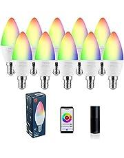 LED Candelabra Bulbs E14 Base, Kleursverandering en White 2700K-6500K Dimmable Smart Light Bulb, Compatibel met Alexa Google Assistent, Tunable White Candle bs Bul320 lm 35w Equivalent