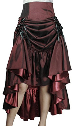 (XXL) Steampunk Ball - Burgundy Victorian Gothic Burlesque Corset Bustle Skirt 4