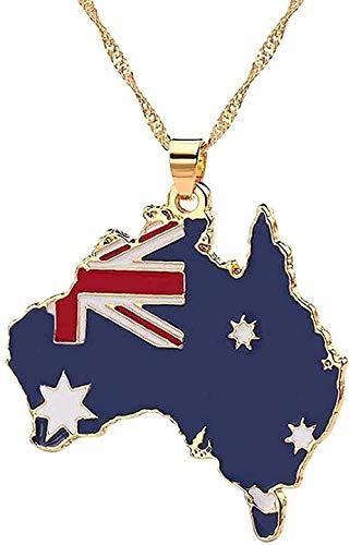 Yiffshunl Collar Moda Collar Mapa Bandera Collar Sudán Australia África Liberia Jamaica África Congo Honduras Colgante Hombre Joyería para Mujeres Niños