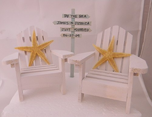 Wedding Reception Adirondack Chairs Beach Real Starfish Cake Topper Sign