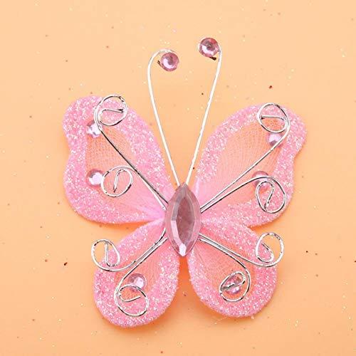 Magnífico 24pcs Malla Mariposa Hermosa Hacer Regalos Festival Ropa Boda Gran Decoración(Pink)