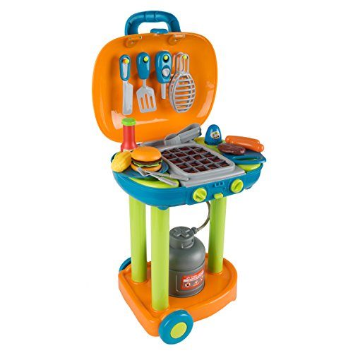 Hey! Play! BBQ Grill Toy Set- Kids Dinner Playset with Realistic Sounds and Grate Lights- Includes Barbecue Food and Accessories, Pretend Kitchen