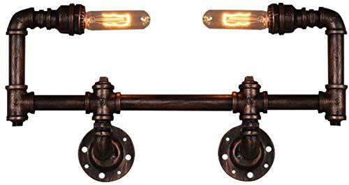 Luces de pared industriales, Antiguo E27 Lámpara de pared Vintage Tubería de agua Luz de pared Industrial Retro Interior Iluminación de pared 2-Bulbs Steampunk Ste Steampunk Sconte Pasillo Lámpara Lám