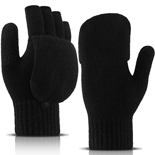 SATINIOR Guantes Convertibles de Mujer Mitones sin Dedos de Punto Guantes de Medio Dedo con Tapa de Girar para Mujer Hombre Clima Frío, Negro