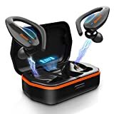 Wireless Earbuds, Bluenin Bluetooth 5.0 Sport Headphones with Charging Case, 136H Playtime, Stereo Deep Sound TWS Earphones, IPX7 Waterproof CVC8.0 Noise Cancelling Headset with Mic(Black)