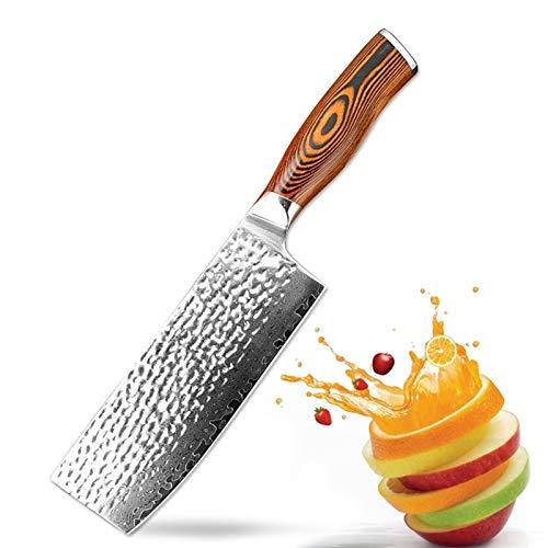 Cuchillo de cocina de 7 pulgadas de alta calidad VG10 Damasco Chef Cuchillo Color Madera Mano Forged Cleaver Cleaver Herramienta Cuchillo de Cocina