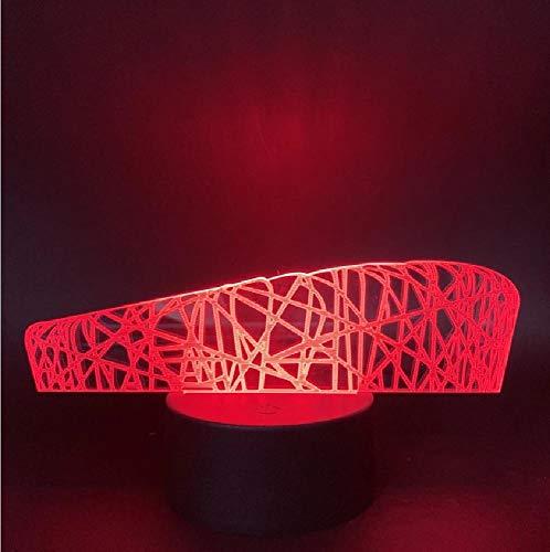 Luz LED nocturna de los Juegos Olímpicos de Beijing para habitación de ni?os, luz nocturna de nido de pájaro, luz nocturna que cambia de color, regalo para ni?os, lámpara 3D moderna