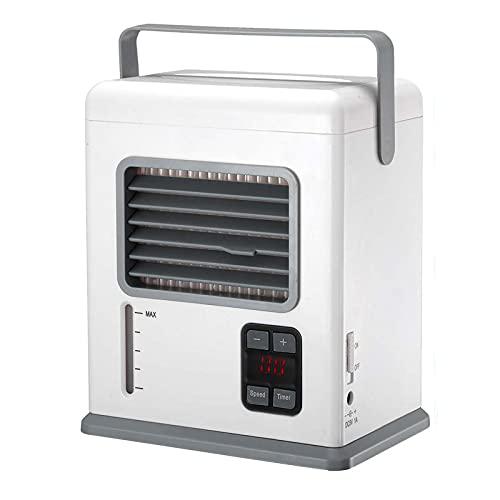 XHMJ Mini condizionatore d'Aria, Materiale ABS, velocità del Vento Regolabile, Alimentazione USB a Basso Rumore, Adatta per dormitorio/Ufficio, ECC, 6x4x7.3 Pollici White