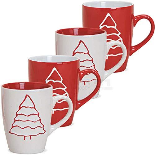 matches21 Tassen Kaffeetassen Weihnachtstassen - Motiv Tannenbaum Relief rot/weiß Keramik 4er Set 10 cm / 280 ml