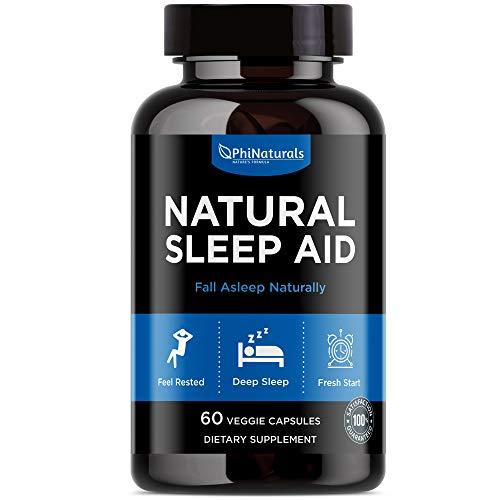 Ayuda para dormir natural con melatonina - [60 cápsulas] GABA y raíz de valeriana | Flor de Pasión y Lúpulo | Casquete y manzanilla | Quedarse dormido Suplementos holísticos rápidos para adultos: alte