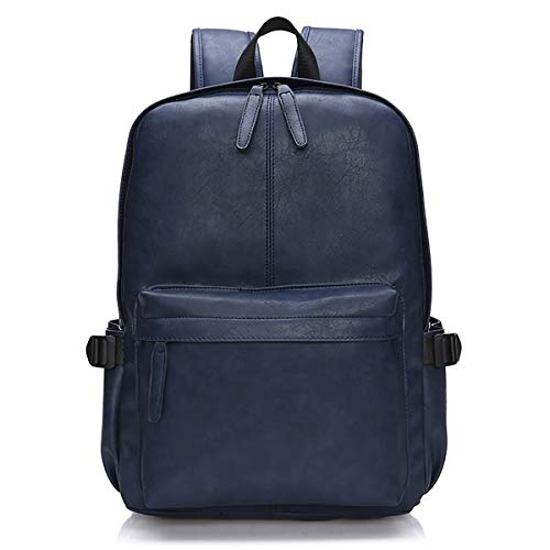 Viaggi Zaino Borsa a Tracolla,OB OURBAG Zaino in Pelle PU Esterni Scuola Zaino fit 15.6' Laptop Backpack per Uomo e Donna (Blu)